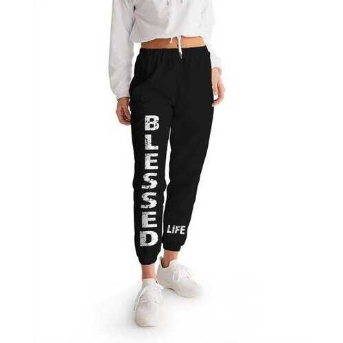 Womens Athletic Pants, Blessed Graphic Text Black And White Track Pants