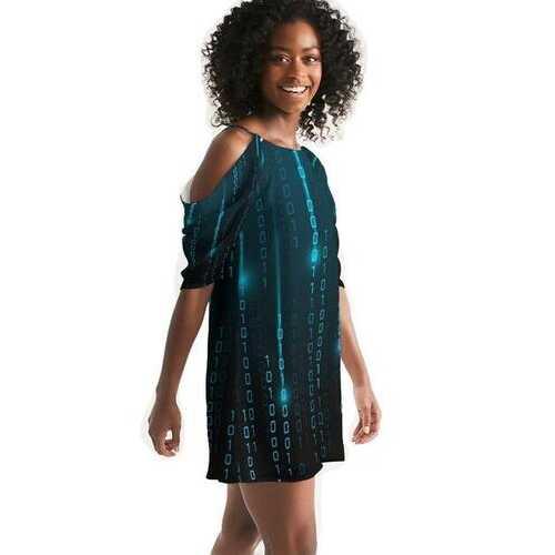 Blue Matrix Womens Open Shoulder A-Line Dress
