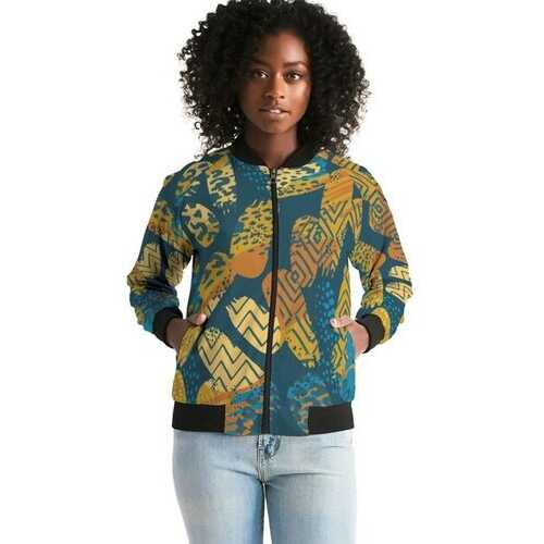 Tribal Blue Abstract Style Womens Bomber Jacket