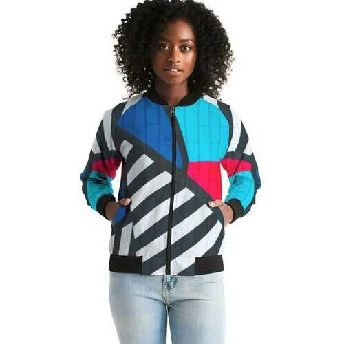 Gridline Colorful Style Womens Bomber Jacket