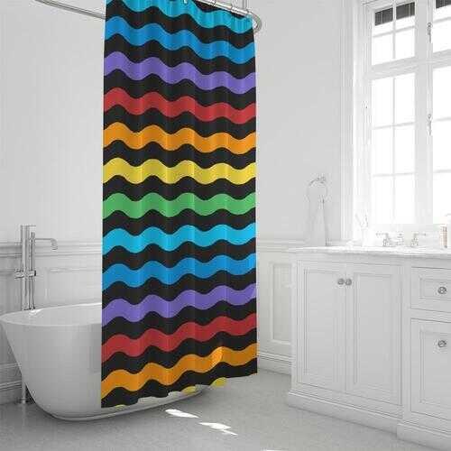 "Rainbow Stripe Classic Shower Curtain 72""x72"""