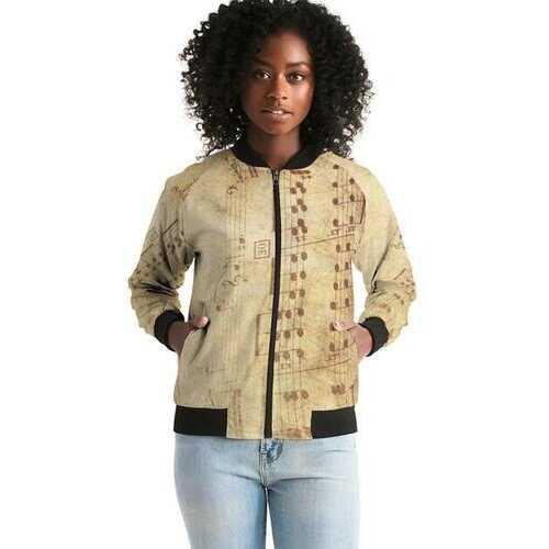 Womens Jacket, Musical Notes Style Bomber Jacket