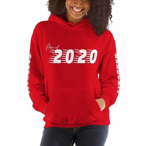 Class Of 2020 Womens Hoodie With Graduate On Sleeves