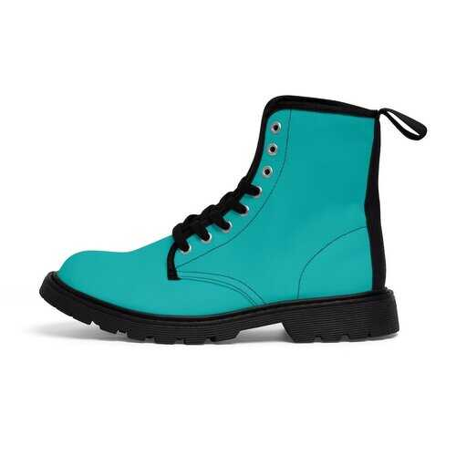 Teal Green Vibrant Style Womens Canvas Boots