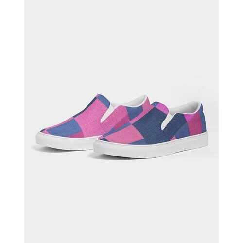 Pink & Blue Geometric Style Womens Slip-On Canvas Sneakers
