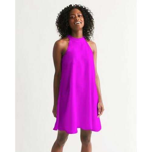 Hot Pink Open Shoulder Halter Dress