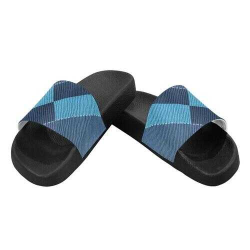 Flip-Flop Sandals, Blue Denim Grid Style Womens Slides