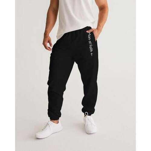 Mens Athletic Pants, Man Of Faith Graphic Text Design