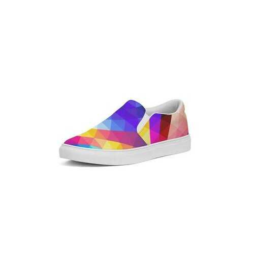 Colorful Abstract Style Womens Slip-On Canvas Sneakers