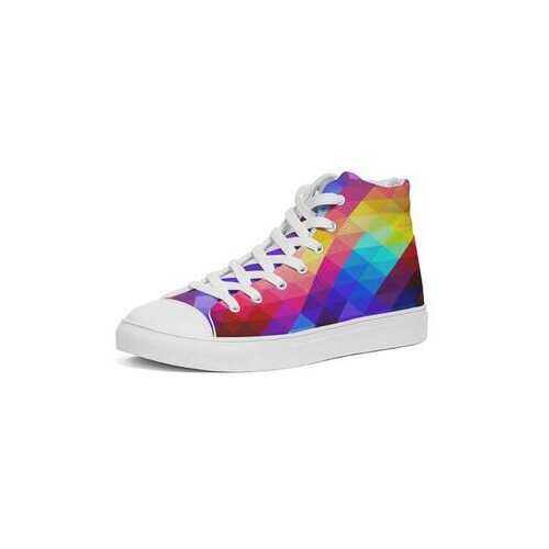 Colorful Grid Style Womens Hightop Sneakers