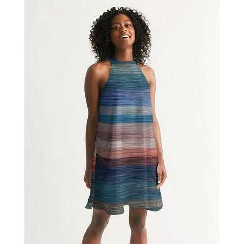 Colorful Canvas Style Womens Halter Dress