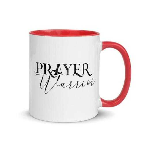 Home Decor, Prayer Warrior Mug with Color Inside 3.85 in x 3.35 in