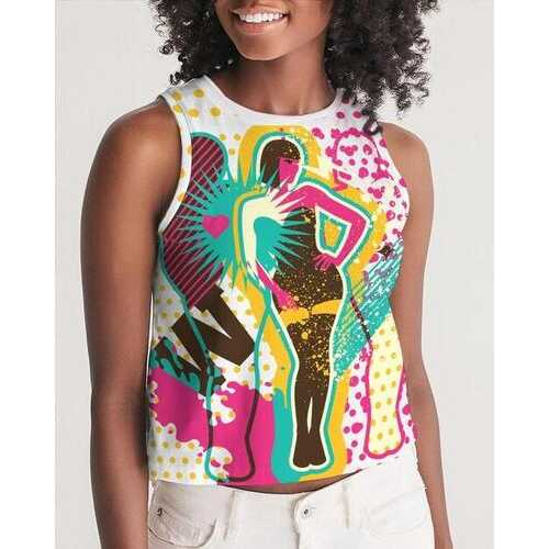 Womens Shirts, Diva Pop Graphic Style Sleeveless Cropped Tank Shirt