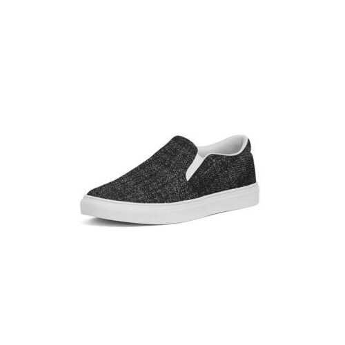 Distressed Black Textured Style Womens Slip-On Canvas Sneakers