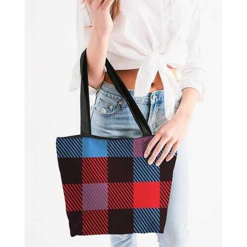 Canvas Tote Bags, Multicolor Flannel Style Shoulder Bag