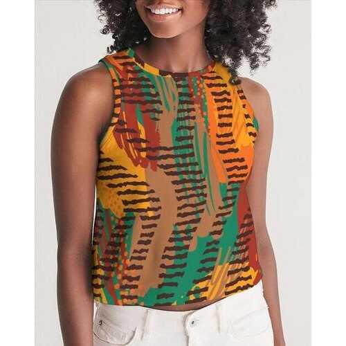 Womens Shirts, Orange And Brown Geometric Style Sleeveless Cropped Tank Shirt