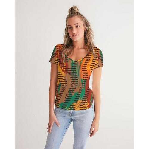 Womens Shirts, Orange And Brown Geometric Style V-Neck Short Sleeve Shirt