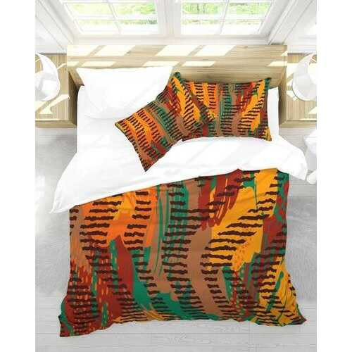 Bedding, Orange and Brown Abstract Style Queen Duvet Cover Set