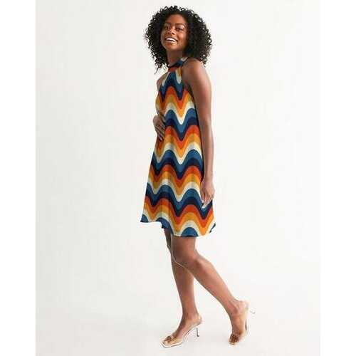 Geometric Colorful Stripes Halter Dress