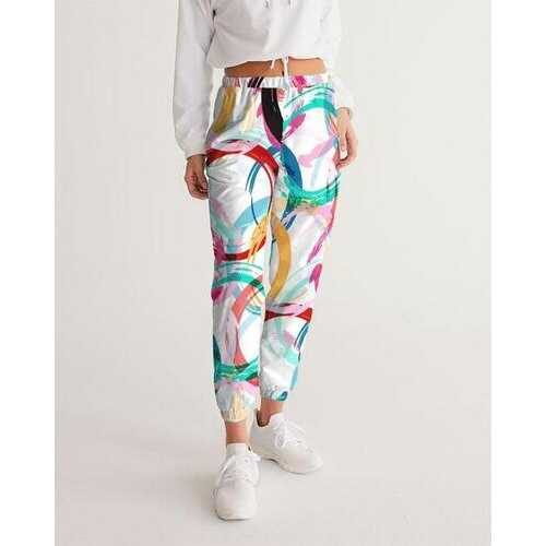 Womans Sportswear, Mulitcolor Circular Swatch Style White Track Pants