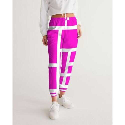 Womens Athletics, Pink And White Block Line Style Track Pants