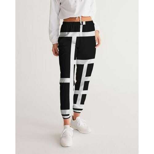 Womens Sportswear, Black And White Block Style Track Pants