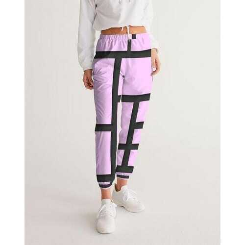 Womens Athletic Pants, Purple Lavender And Black Lines Style Track Pants