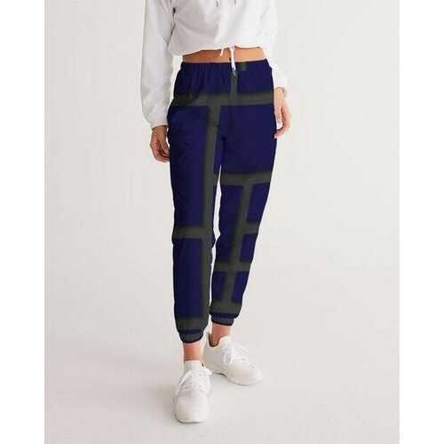 Womens Sportswear, Dark Blue And Olive Green Geometric Style Track Pants