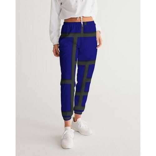 Womens Athletic Track Pants, Navy Blue & Black Geometric Block Design