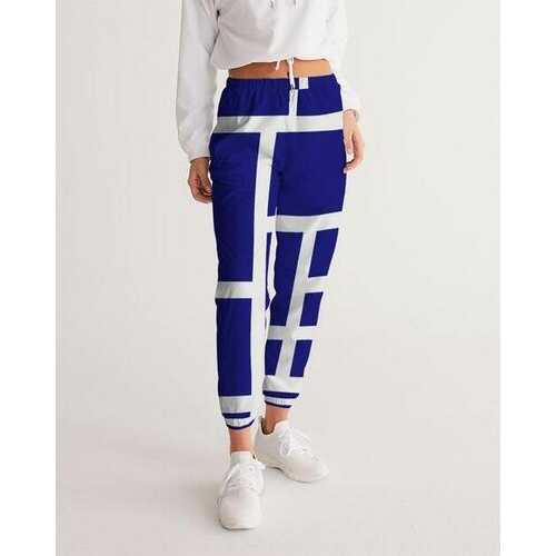 Womens Sportswear, Blue And White Block Style Track Pants
