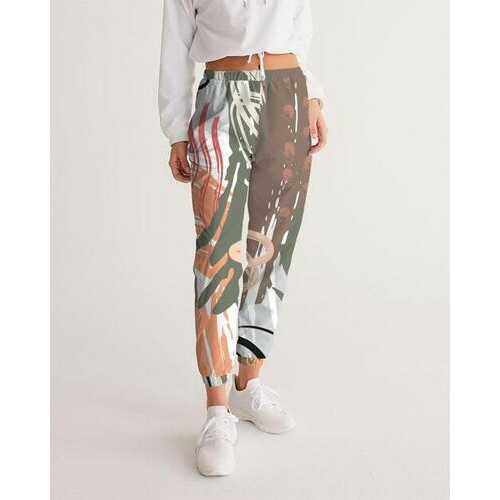Womens  Sportswear, White Green And Black Color Swatch Style Track Pants