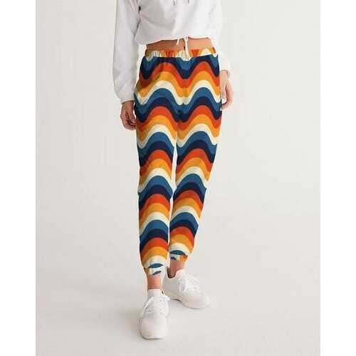 Womens Sportswear, Blue Orange Red Multicolor Geometric Style Track Pants