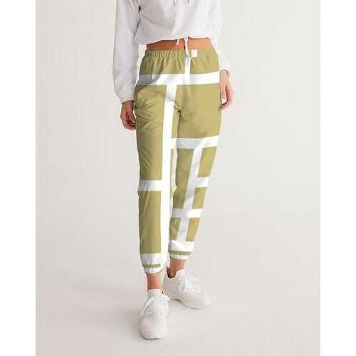Womens Sportswear, Beige And White Block Style Track Pants