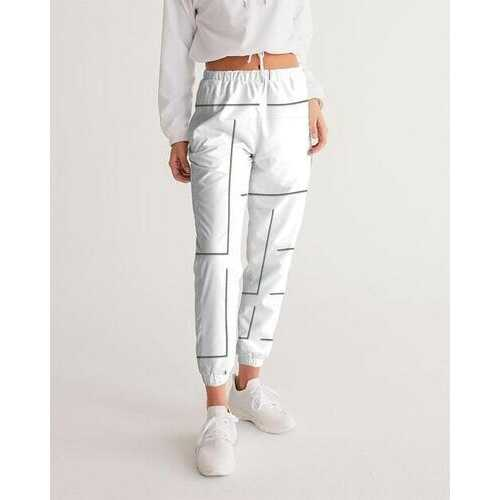 Womens Athletics, White And Gray Line Style Track Pants