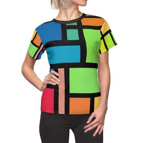 Womens Shirts, Blue Red Yellow And Green Multicolor Block Style Top