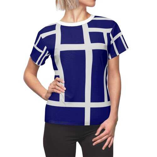 Womens Shirts, Blue And White Geometric Style Top