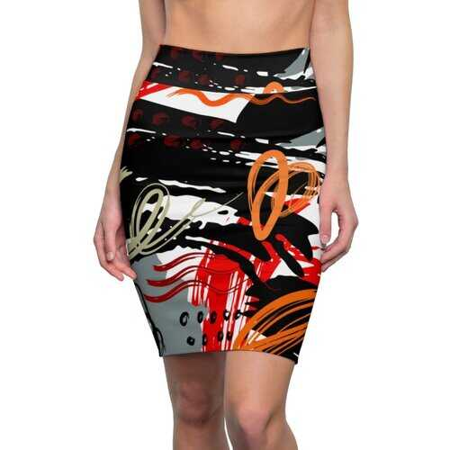 Womens Pencil Skirt, Black Red And Gray Abstract Style