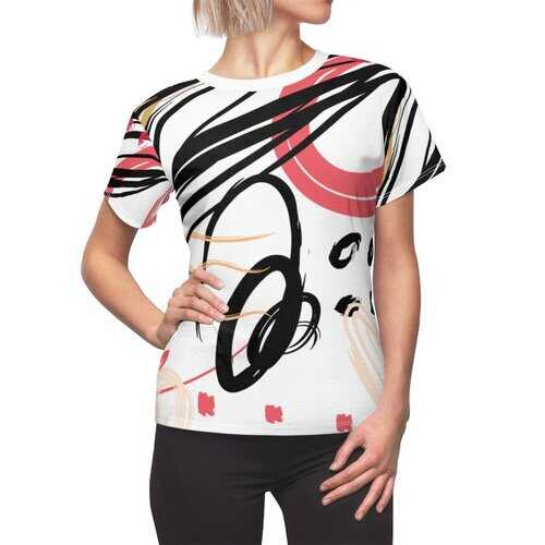 Womens Shirts, Abstract Black And Pink Circular Style White Top