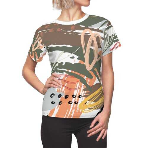 Abstract Green And Peach Circular Graphic Style Womens Shirt