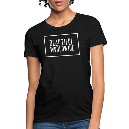 Beautiful Worldwide White Graphic Text Womens Tee