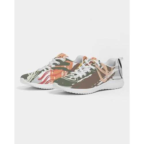 Green And White Abstract Style Womens Athletic Sneakers