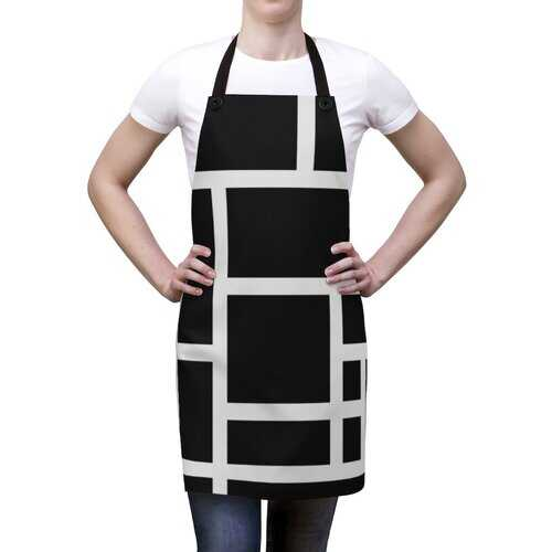 Unisex Apron, Black And White Block Design