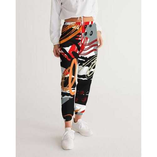 Womens Sportswear, Black Red And White Color Swatch Style Track Pants