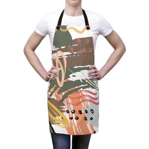 Unisex Apron, Abstract Green Pink Peach Design