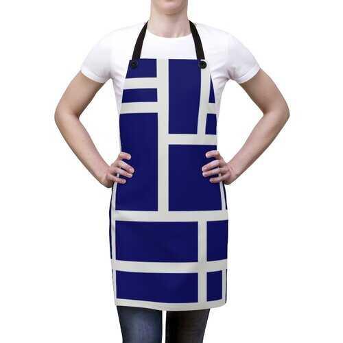 Unisex Apron, Blue And White Block Design