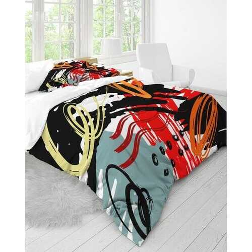 Duvet Cover Set, Black Red Gray and White Abstract Circular Design