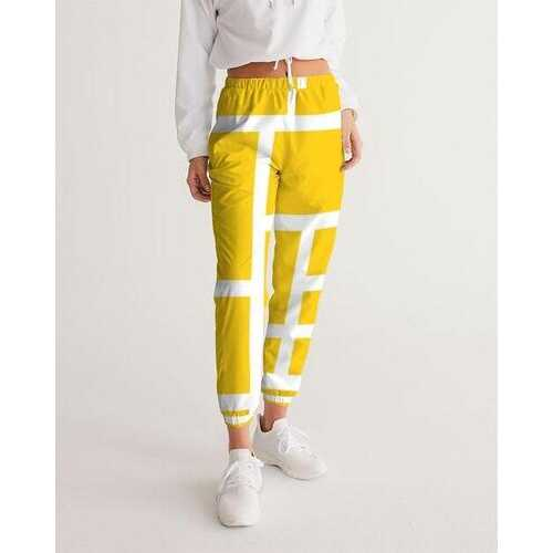 Womens Athletics, Yellow And White Geometric Block Style Track Pants