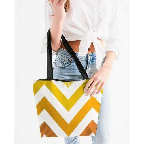 Canvas Tote Bags, Yellow and White Herringbone Style Shoulder Bag
