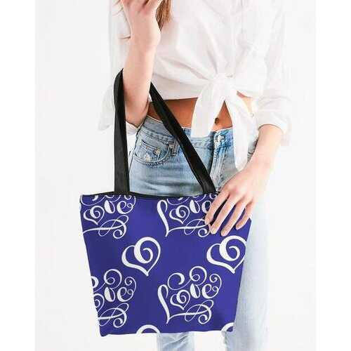 Canvas Tote Bags, Love Graphic Text Royal Blue Style Shoulder Bag