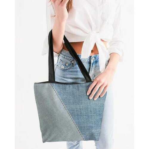 Canvas Tote Bags, Patch Denim Style Shoulder Bag